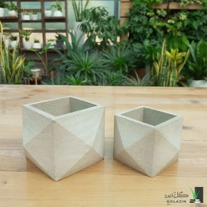 گلدان بتنی مربع سه بعدی